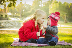 Sharing a Lollipop a Little Girl with Her Baby Brother Outdoors. Little Girl with Her Baby Brother Wearing Winter Coats and Hats Sharing a Lollipop Outdoors at stock image