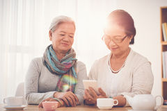 Sharing memories. Mature women sharing photos on her smartphone with friend Royalty Free Stock Photography