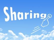 Sharing message cloud shape. On blue sky stock illustration