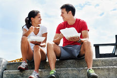 Sharing a moment over a takeaway Stock Photography