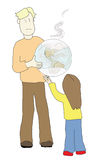 Sharing polluted earth. Adult sharing a polluted earth with a child Royalty Free Illustration