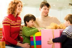 Sharing presents Stock Photo