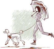 Sharing a Rain. It's all about exercising: the physical shape, ability to resist the weather conditions, and, finally, the love to others stock illustration