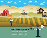 Sharing and renting drone for spray pesticides in field,Smart service concept - Vector. Illustration stock illustration