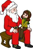Sharing with Santa. Isolated illustration of a little girl sitting on Santas lap sharing about her wish list for Christmas. Illustration by Kate Holloman vector illustration