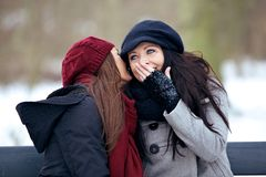 Sharing a Secret to My Bestfriend. Two outdoor friends having fun and sharing secrets with each other Stock Images