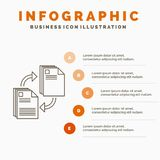 Sharing, share, file, document, copying Infographics Template for Website and Presentation. Line Gray icon with Orange infographic. Style vector illustration royalty free illustration