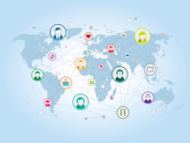 Sharing and social network on the Internet. Sharing and relationship in social networks and internet royalty free illustration