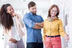 Sharing their impressions on the latest designs Stock Image