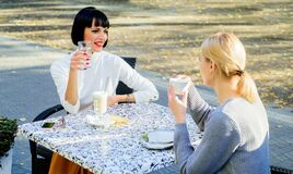 Free Sharing Thoughts. Female Friendship. Trustful Communication. Girls Friends Drink Coffee And Talk. True Friendship Stock Photography - 169174122