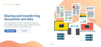 Sharing and transferring documents and data. Transfer data between computer and laptop. Backup data and computer network. Template in flat design for web stock illustration