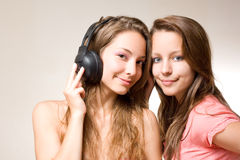 Sharing the tune. Royalty Free Stock Image