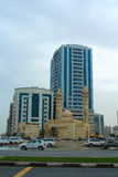 Sharja, United Arab Emirates: Al Ekhlas Mosque, Al Khan fotografía de archivo