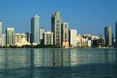 Sharjah Al Buhairah Corniche Arkivfoto