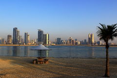 Sharjah. From Al Mamzar beach in Dubai Stock Images