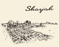 Sharjah Arab Emirates skyline vector drawn sketch Stock Image
