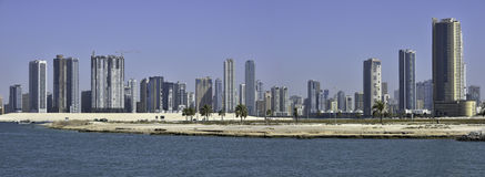 Sharjah City. Panoramic view from Al Khan Corniche street Royalty Free Stock Photography