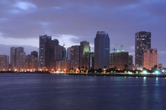 Sharjah City Skyline at dusk Royalty Free Stock Image