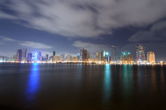 Sharjah City Skyline at dusk Royalty Free Stock Photo