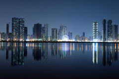 Sharjah City skyline at night Royalty Free Stock Images