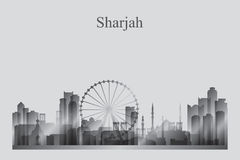 Sharjah city skyline silhouette in grayscale Royalty Free Stock Image