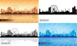 Sharjah city skyline silhouettes Set Royalty Free Stock Image