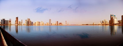 Sharjah at the creek. A panaramic view of the city of Sharjah at the creek in the United Arab Emirates Stock Photos