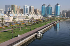 Sharjah Creek. Promenade at Sharjah Creek, United Arab Emirates Royalty Free Stock Image