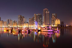 Sharjah Creek at night. UAE Royalty Free Stock Photos