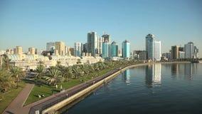 Sharjah Creek waterfront stock video footage