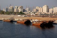 Sharjah Dhow. Arabian dhow in Sharjah port Stock Photos