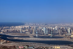 Sharjah. Emirate of Sharjah cityscape, Persian Gulf, view from a height Royalty Free Stock Photo