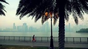Sharjah, Emiratos Árabes Unidos - 18 de janeiro de 2018 Cais na manhã de Al Buheirah Corniche Foggy Ьan em um t-shirt branco é video estoque