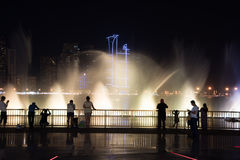 Sharjah Fountain. Sharjah, United Arab Emirates, SEP 29, 2015: Sharjah fountain and light show. A famous landmark for tourists and residents in UAE Stock Photos