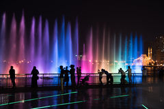 Sharjah Fountain. Sharjah, United Arab Emirates, SEP 29, 2015: Sharjah fountain and light show. A famous landmark for tourists and residents in UAE Royalty Free Stock Images