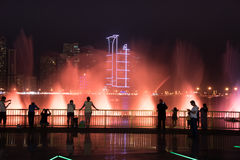 Sharjah Fountain. Sharjah, United Arab Emirates, SEP 29, 2015: Sharjah fountain and light show. A famous landmark for tourists and residents in UAE Royalty Free Stock Photography