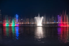 Sharjah Fountain. Sharjah, United Arab Emirates, SEP 29, 2015: Sharjah fountain and light show. A famous landmark for tourists and residents in UAE Stock Photo