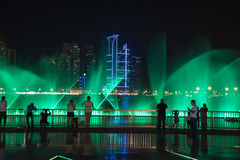 Sharjah Fountain. Sharjah, United Arab Emirates, SEP 29, 2015: Sharjah fountain and light show. A famous landmark for tourists and residents in UAE Stock Images