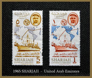 1965 - SHARJAH - I.T.U.TELECOMMUNICATIONS - Emiratos Árabes Unidos Fotografia de Stock