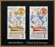 1965 - SHARJAH - I.T.U.TELECOMMUNICATIONS - gli Emirati Arabi Uniti Fotografia Stock