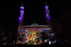 Sharjah Mosque Festival. Sharjah Mosques facade illumination Light Festival Royalty Free Stock Photography