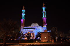 Sharjah Mosque light Festival. Sharjah Mosques illumination Light Festival Stock Images