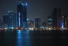 Sharjah na noite Imagens de Stock