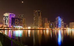 Sharjah at night. A night shot of Sharjah Royalty Free Stock Images