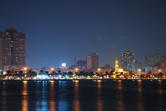 Sharjah at Night. Sharjah City, Masjid at Khalid Lake at night Stock Images