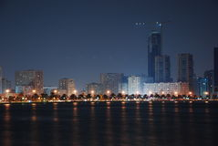 Sharjah at Night. Sharjah City, Masjid at Khalid Lake at night Royalty Free Stock Photo