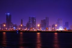 Sharjah at night, united arab emirates Stock Image