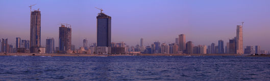 Sharjah Panorama from dubai beach Royalty Free Stock Images