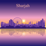 Sharjah silhouette on sunset background Royalty Free Stock Photo