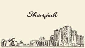 Sharjah skyline United Arab Emirates vector drawn Royalty Free Stock Image